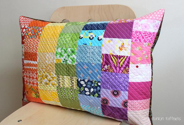 rainbow scrap pillow
