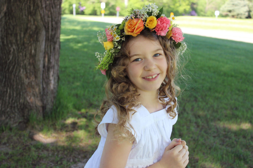 Garden party dress for First Communion made by Punkin Patterns